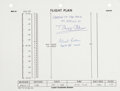 Transportation:Space Exploration, Apollo 11 Flown Flight Plan Page Originally from the Personal Collection of Mission Lunar Module Pilot Buzz Aldrin, Signed and...