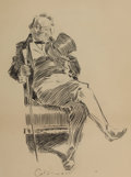 Mainstream Illustration, CHARLES DANA GIBSON (American, 1867-1944). Mr. Pipps Seated.Ink on board. 15 x 11.5 in.. Signed lower center. ...