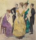 Mainstream Illustration, ORSON BYRON LOWELL (American, 1871-1956). Society Gathering.Mixed media on paper. 23.5 x 21 in.. Signed lower right. ...