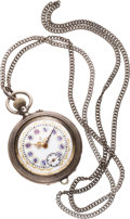 Timepieces:Pocket (pre 1900) , Jacot Fancy Dial Silver Watch With Chain, circa 1895. ...