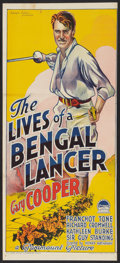 "Movie Posters:Adventure, The Lives of a Bengal Lancer (Paramount, R-Late 1940s). AustralianDaybill (13"" X 30""). Adventure.. ..."