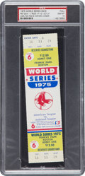 Baseball Collectibles:Tickets, 1975 World Series Game 6 Full Ticket from Carlton Fisk's HistoricHome Run PSA Gem Mint 10 - Single Highest Graded Example!...
