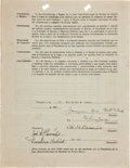 "Autographs:Others, 1939 William ""Cy"" Perkins Signed Puerto Rican League Contract...."