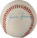 Autographs:Baseballs, 1970's Jesse Haines Single Signed Baseball, PSA NM-MT 8....