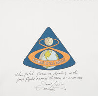 Apollo 8 Flown Beta Cloth Mission Insignia Patch Directly from the Personal Collection of Mission Command Module Pilot J...