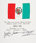 Transportation:Space Exploration, Apollo 8 Flown Flag of Mexico on Crew-Signed Certificate, Directlyfrom the Personal Collection of Mission Command Module Pilo...