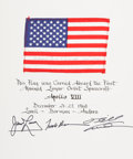 Transportation:Space Exploration, Apollo 8 Flown American Flag on Crew-Signed Certificate, Directlyfrom the Personal Collection of Mission Command Module Pilot...