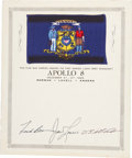 Transportation:Space Exploration, Apollo 8 Flown Wisconsin State Flag on Crew-Signed Certificate,Directly from the Personal Collection of Mission Command Modul...