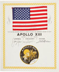 Transportation:Space Exploration, Apollo 13 Flown American Flag on Crew-Signed Certificate, Directly from the Personal Collection of Mission Commander James Lov...