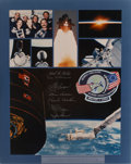 Transportation:Space Exploration, Space Shuttle Discovery (STS-51-D) Flown Embroidered MissionPatch with Crew-Signed Color Photo Directly from the ...