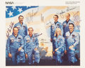 Transportation:Space Exploration, Space Shuttle Discovery (STS-51-D) Crew-Signed Color Photo Directly from the Personal Collection of Mission Specia...