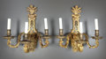 Decorative Arts, French:Lamps & Lighting, A PAIR OF FRENCH GILT BRONZE THREE-LIGHT SCONCES . Henri Vian,Paris, France, circa 1880-1890. Marks: H. Vian. 18-5/8 x ...(Total: 2 Items)