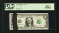 Error Notes:Ink Smears, Fr. 1907-D $1 1969D Federal Reserve Note. PCGS Choice New 63PPQ.....