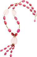 Estate Jewelry:Necklaces, Rose Quartz, Pink Tourmaline, Diamond, Gold Necklace. ...