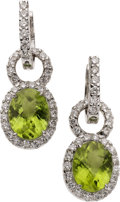 Estate Jewelry:Earrings, Peridot, Diamond, White Gold Convertible Earrings. ... (Total: 2Items)