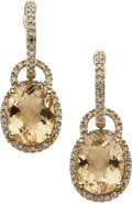 Estate Jewelry:Earrings, Citrine, Diamond, Gold Convertible Earrings. ... (Total: 2 Items)