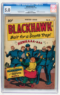 Blackhawk #9 (Quality, 1944) CGC VG/FN 5.0 Cream to off-white pages