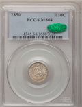 Seated Half Dimes: , 1850 H10C MS64 PCGS. CAC. PCGS Population (38/42). NGC Census:(60/49). Mintage: 955,000. Numismedia Wsl. Price for problem...