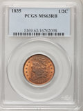 Half Cents: , 1835 1/2 C MS63 Red and Brown PCGS. PCGS Population (57/118). NGCCensus: (15/103). Mintage: 398,000. Numismedia Wsl. Price...