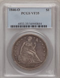 Seated Dollars: , 1846-O $1 VF35 PCGS. PCGS Population (18/153). NGC Census: (3/121).Mintage: 59,000. Numismedia Wsl. Price for problem free...