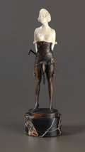 Bronze:European, AN AUSTRIAN PATINATED BRONZE AND IVORY FIGURE: YOUNG WOMAN WITHCANE . After Bruno Zach (Austrian, 1891-1935), circa 19...