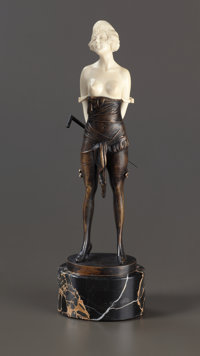 AN AUSTRIAN PATINATED BRONZE AND IVORY FIGURE: YOUNG WOMAN WITH CANE After Bruno Zach (Austrian, 1891