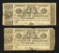 Obsoletes By State:Arkansas, (Little Rock), AR- Arkansas Treasury Warrants $10 Dec. 1862 Cr. 54a Two Examples . ... (Total: 2 notes)
