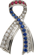 Estate Jewelry:Brooches - Pins, Diamond, Ruby, Sapphire, Platinum Brooch, Harry Winston. ...