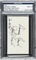 Autographs:Others, 1938 Johnny Evers Double Signed Cut Signature, PSA/DNA Mint 9....