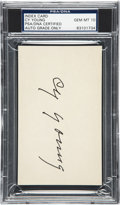 Autographs:Index Cards, Early 1950's Cy Young Signed Index Card, PSA/DNA Gem Mint 10. ...