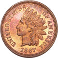 Proof Indian Cents, 1867 Indian Cent PR64 Red and Brown NGC....