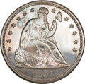 Proof Seated Dollars, 1857 Seated Dollar--Improperly Cleaned--NGC. Proof....