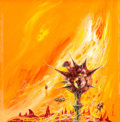 Paintings, RICHARD M. POWERS (American, 1921-1996). The Mountains of the Sun, paperback cover, 1974. Acrylic on board. 22 x 22.5 in...