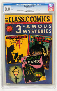 Classic Comics #21 Three Famous Mysteries - Original Edition (Gilberton, 1944) CGC VF 8.0 Off-white pages