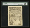 Colonial Notes:Rhode Island, 19th Century Reprint Rhode Island March 18, 1750 1 Ounce 5Pennyweight PMG Choice About Unc 58 EPQ....