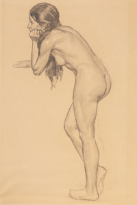 DEAN CORNWELL (American, 1892-1960) Study of a Nude Charcoal on paper 23 x 15 in. Not signed