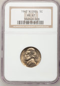 Jefferson Nickels: , 1942 5C Type One MS67 NGC. NGC Census: (99/0). PCGS Population(5/0). Mintage: 49,818,600. Numismedia Wsl. Price for proble...