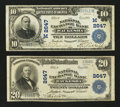National Bank Notes:Wisconsin, Waukesha, WI - $10 1902 Plain Back Fr. 634 The National Exchange Bank Ch. # (M)2647. Waukesha, WI - $20 1902 Plain B... (Total: 2 notes)