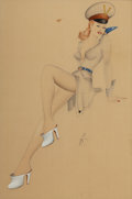 Pin-up and Glamour Art, Attributed to MAURO SCALI (American, 1926-1988). Woman inUniform. Mixed media on paper. 24 x 16 in.. Signed lowerright... (Total: 2 Items)