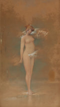 Pin-up and Glamour Art, EMILE MILO (American, 19th Century). Wood Nymph, 1894.Watercolor on paper. 25.5 x 14.5 in.. Signed lower right. ...(Total: 2 Items)