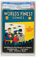 Golden Age (1938-1955):Superhero, World's Finest Comics #5 (DC, 1942) CGC FN- 5.5 Cream to off-white pages....