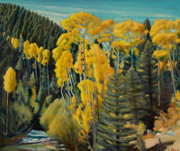 JOSEPH AMADEUS FLECK (American, 1892-1977) Aspen at Twinning Oil on masonite 25 x 30 inches (63.5