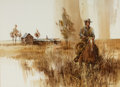 Western:20th Century, JOSEPH STEPHEN BOHLER (American, b. 1938). Cowboy on Horse. Watercolor on paper. 16 x 22 inches (40.6 x 55.9 cm). Signed...