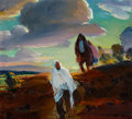 Western:20th Century, LORAN WILFORD (American, 1892-1972). Figures at Sunset. Oil on board. 9 x 10 inches (22.9 x 25.4 cm). Signed indistinctl...