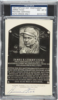 Autographs:Post Cards, Early 1950's Jimmie Foxx Signed Black & White Hall of Fame Plaque, PSA/DNA NM-MT 8. ...