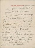 """Boxing Collectibles:Autographs, 1912 """"Battling Mike"""" Donovan Handwritten Signed Letter...."""