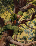 Paintings, MORT KÜNSTLER (American, b. 1931). The Marine Who Lived in a Tree, For Men Only cover, March 1958. Gouache on board. 19.... (Total: 2 Items)