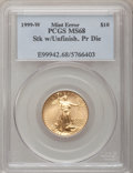 1999-W G$10 Quarter-Ounce Gold Eagle--Struck With Unfinished Proof Dies--MS68 PCGS. PCGS Population (478/762). NGC Censu...