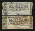 Obsoletes By State:Arkansas, (Little Rock), AR- Arkansas Treasury Warrants $5 1863 Cr. 50b Two Examples. ... (Total: 2 notes)