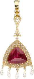 Estate Jewelry:Pendants and Lockets, Pink Tourmaline, Diamond, Gold Enhancer, Laura Munder. ...